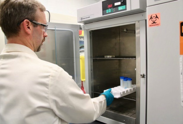 Bruce Salter, a senior research scientist at the Air Force Civil Engineer Center, works on non-toxic, anti-microbial compounds.