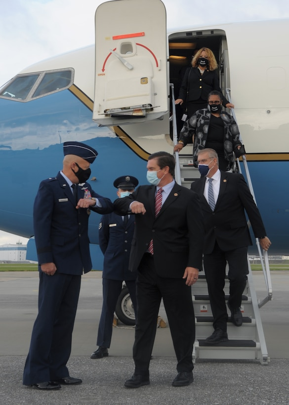 U.S. Air Force Brig. Gen. Thomas Grabowski, Georgia Air National Guard Total Force Integration special assistant to the director, greets Rep. Austin Scott of Georgia, on the flight line July 30, 2020, at Dobbins Air Reserve Base, Georgia. The leadership team greeted members of Congress who arrived for the funeral of Rep. John Lewis. (U.S. Air Force photo by Senior Airman Shelby Thurman)