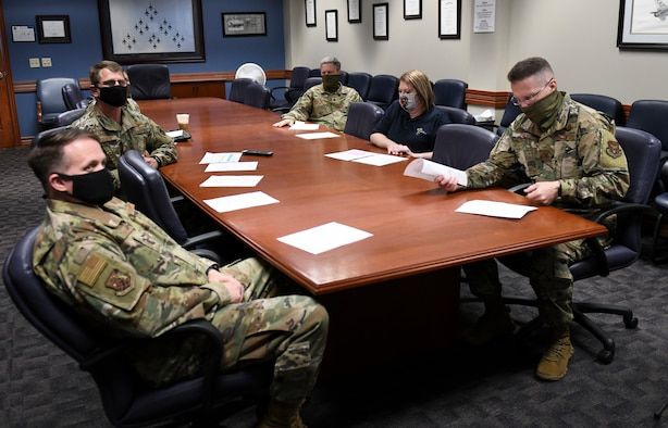 Col. Matthew Fritz, 419th Fighter Wing commander, along with other wing leaders and personnel, hosts the first ever virtual commander's call