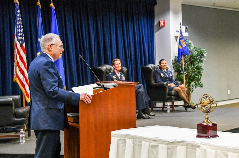 Lt. Gen. John F. Thompson, Space and Missile Systems Center commander and Air Force program executive officer for Space, officiates a change of command during which outgoing commander, Col. Ann Igl relinquishes leadership of the 61st Air Base Group to Col. Becky Beers inside SMC's Gordon Conference Center July 15, 2020 at the Los Angeles Air Force Base in El Segundo, Calif. (U.S. Air Force photo/Van De Ha)