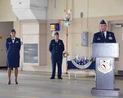 Tom McElhinney III, former 14th Operations Group commander, speaks at the 14th OG change of command ceremony on July 24, 2020, at Columbus Air Force Base, Miss. McElhinney served as commander of the 14th OG from January to July 2020. (U.S. Air Force photo by Elizabeth Owens)