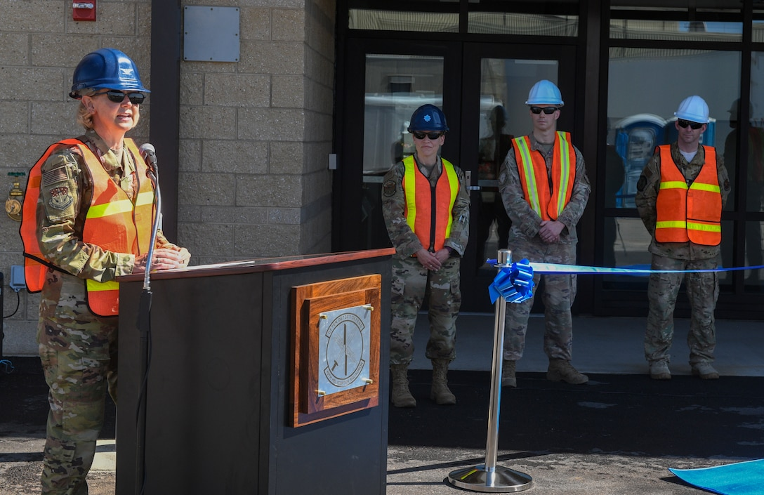 Col. Jennifer Reeves, 341st Missile Wing commander, makes opening remarks during a ribbon-cutting ceremony for the new Tactical Response Force/Helicopter Operations Alert Facility Aug. 4, 2020, at Malmstrom Air Force Base, Mont.