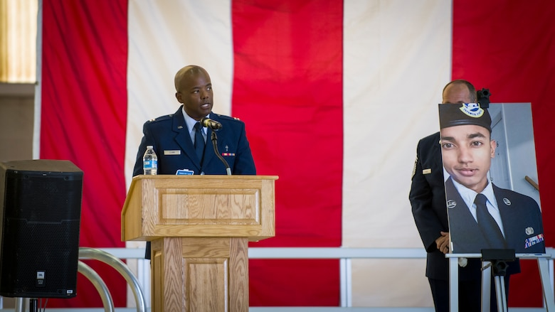 Chaplain, Capt. Jay Clark provides his remarks during a memorial service for three Security Forces members lost this year at Edwards Air Force Base, California, Aug. 3. (Air Force photo by Giancarlo Casem)