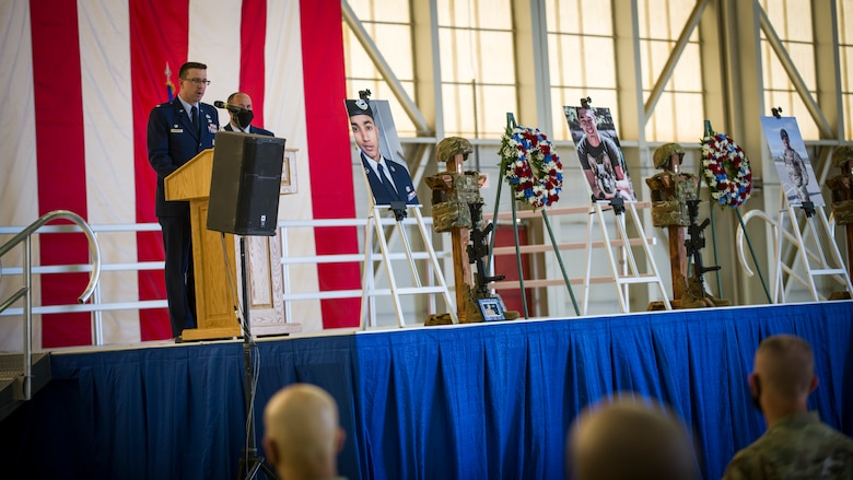 Lt. Col. Joseph A Bincarousky Sr., the 412th Security Forces Squadron Commander, provides his remarks during a memorial service for three Security Forces members lost this year at Edwards Air Force Base, California, Aug. 3. (Air Force photo by Giancarlo Casem)