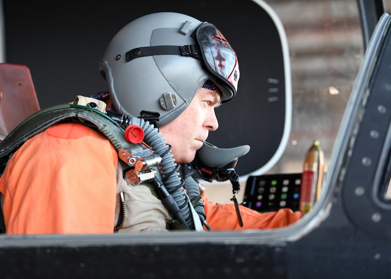 Retired Lt. Col Jonathan Huggins, 1st Reconnaissance Squadron U-2 instructor pilot, performs a preflight inspection before takeoff July 31, 2020 at Beale Air Force Base, California. Huggins retired on Sep. 26, 2014 and has served as a U-2 pilot instructor for 15 of the 18 years he's been flying the U-2 as an active duty pilot. (U.S. Air Force photo by Airman 1st Class Luis A. Ruiz-Vazquez)