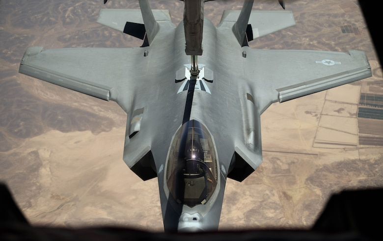 """A 421st Fighter Squadron F-35A Lightning II aircraft connects with a 908th Expeditionary Refueling Squadron KC-10 Extender to refuel during """"Enduring Lightning II"""" exercise over southern Israel Aug. 2, 2020. While forging a resolute partnership, the allies train to maintain a ready posture to deter against regional aggressors. (U.S. Air Force photo by Tech. Sgt. Charles Taylor)"""