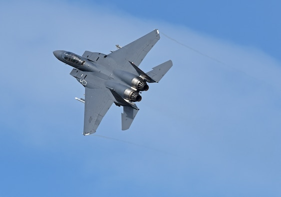 An F-15E Strike Eagle, assigned to the 492nd Fighter Squadron, takes flight at Royal Air Force Lakenheath, England, Aug. 4, 2020. The Liberty Wing F-15s provide worldwide responsive combat airpower and support through its highly capable maneuverability and acceleration, weapons systems and avionics. (U.S. Air Force photo by Airman 1st Class Rhonda Smith)