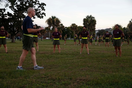 The 19th Sergeant Major of the Marine Corps, Sgt. Maj. Troy E. Black addresses Drill Instructors with 4th Recruit Training Battalion at Marine Corps Recruit Depot (MCRD) Parris Island, South Carolina, July 22, 2020. During the visit Sgt. Maj. Black toured the training facilities to observe changes made keep recruits and Drill Instructors safe during COVID-19 restrictions. The changes include the use of face masks when less than six feet apart, and smaller platoon sizes in addition to the 14 days of restriction of movement before new recruits start training. (U.S. Marine Corps photo by Sgt. Victoria Ross)