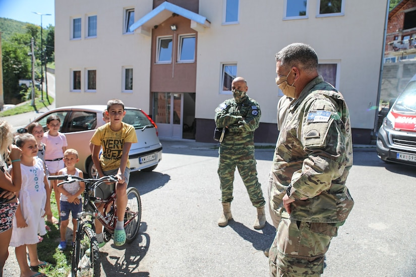 """Kosovo Force Regional-Command East Soldiers from the Liaison Monitoring Team, """"Kilo 5"""", delivered 4 thousand euros worth of medical equipment July 28, 2020 to the Health Station of Banjska (Banjske), Kosovo."""