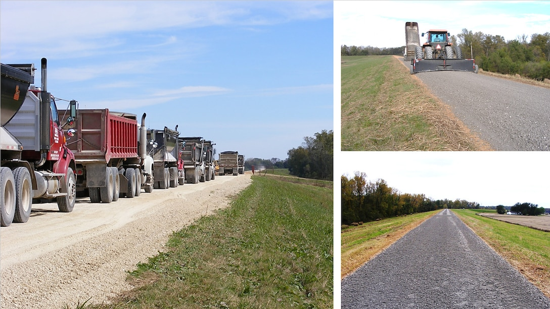 IN THE PHOTO, are images from prior levee resurfacing projects.