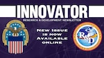 """Graphic that says """"New issue is now available online"""" with DLA logo of an eagle, stars and stripes plus the DLA R&D logo of a globe with """"R&D"""" imprinted on top."""