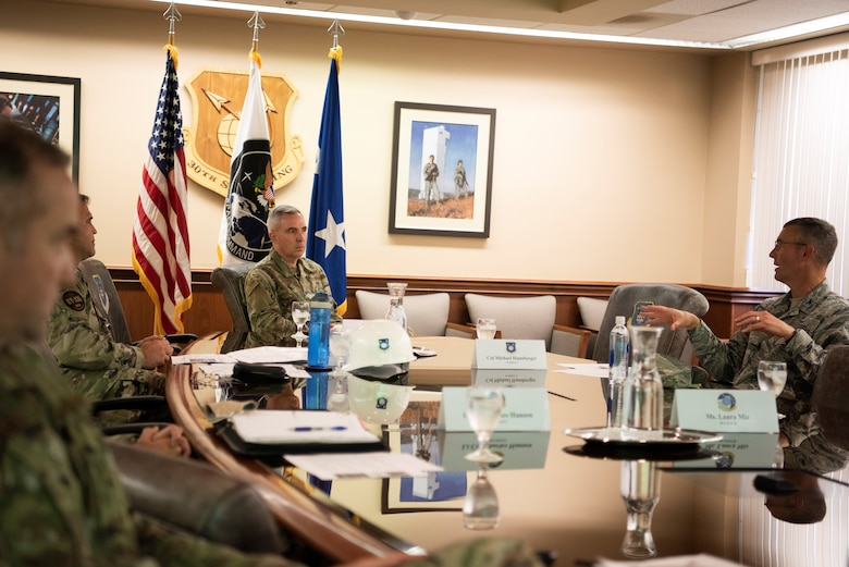 Maj. Gen. Stephen Whiting, U.S. Space Force deputy commander, discusses 30th Space Wing range of the future initiatives with leadership July 29, 2020, at Vandenberg Air Force Base, Calif.  During the visit, Whiting visited various units and learned about new developments for the 30th Space Wing, Combined Force Space Component Command, and 381st Training Group at Vandenberg AFB. (U.S. Force photo by Senior Airman Hanah Abercrombie)