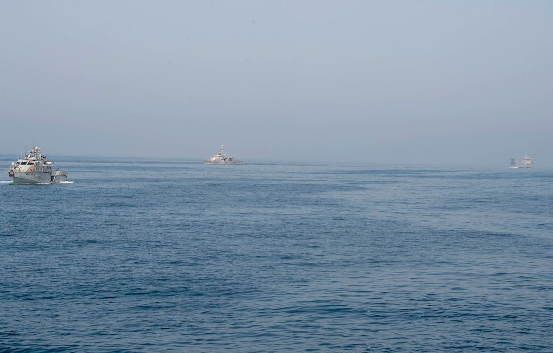 200714-N-FO574-1015 ARABIAN GULF (July 14, 2020) A Mark VI patrol boat (left), assigned to Commander, Task Force (CTF) 56, and coastal patrol ship USS Monsoon (PC 4) (center), assigned to CTF 55, escort logistics support vessel Maj. Gen. Charles P. Gross (LSV 5) (right) in the Arabian Gulf, July 14, 2020. CTF 56 is responsible for planning and execution of expeditionary missions, including coastal riverine operations, in the U.S. 5th Fleet area of operations. (U.S. Navy photo by Mass Communication Specialist 3rd Class Jordan R. Bair/Released)