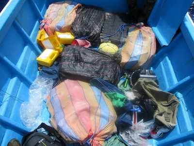 Suspected cocaine is shown on the deck of a go-fast-vessel.