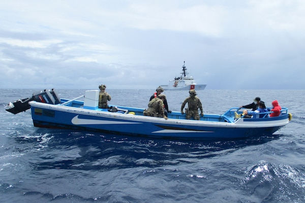 The Coast Guard Cutter Bertholf and a go-fast vessel interdicted in the Eastern Pacific Ocean off the Coast of Central America in late-July 2020.