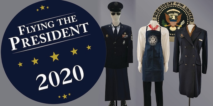 "Graphic with three mannequins wearing uniforms from Air Force One crew and a blue circle logo that reads ""Flying the President 2020""."