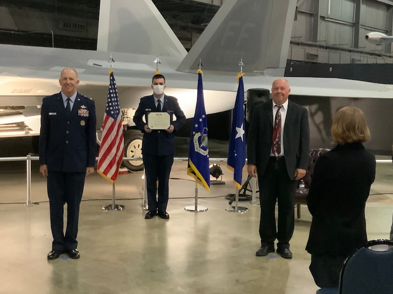 """Charles A. """"Chuck"""" Babish IV, Air Force Senior Level Executive for Aircraft Structural Integrity, was presented the Decoration for Exceptional Civilian Service in a ceremony presided by Air Force Life Cycle Management Center Commander, Lt. Gen. Robert McMurry, at the National Museum of the United States Air Force on August 5."""
