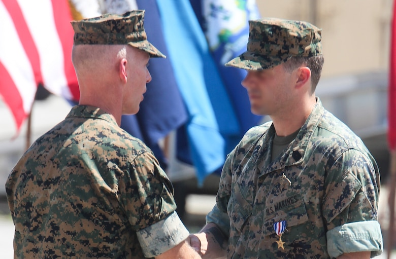 A Marine Raider was awarded the Silver Star Medal for heroic actions while deployed to Afghanistan in 2019, at a ceremony aboard Marine Corps Base Camp Lejeune. July 10, 2020.