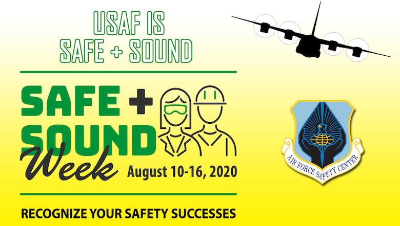 Graphic illustrating Air Force Safe + Sound Week campaign.
