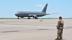 A KC-46 Pegasus assigned to the Team McConnell lands after returning from Seymour Johnson Air Force Base, N.C., Aug. 1, 2020, at McConnell AFB, Kan.