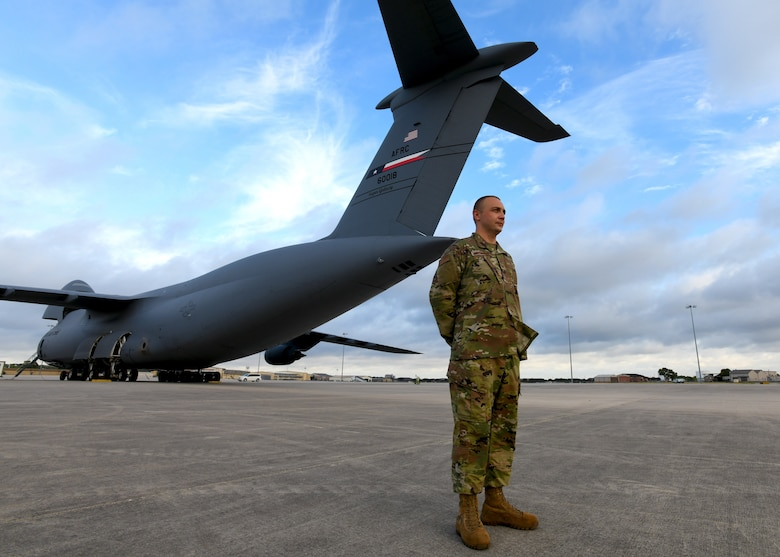 Tech. Sgt. Muris Secerbegovic, 433rd Maintenance Group quality assurance inspector, stands near a C-5M Super Galaxy July 22, 2020, at Joint Base San Antonio-Lackland, Texas.