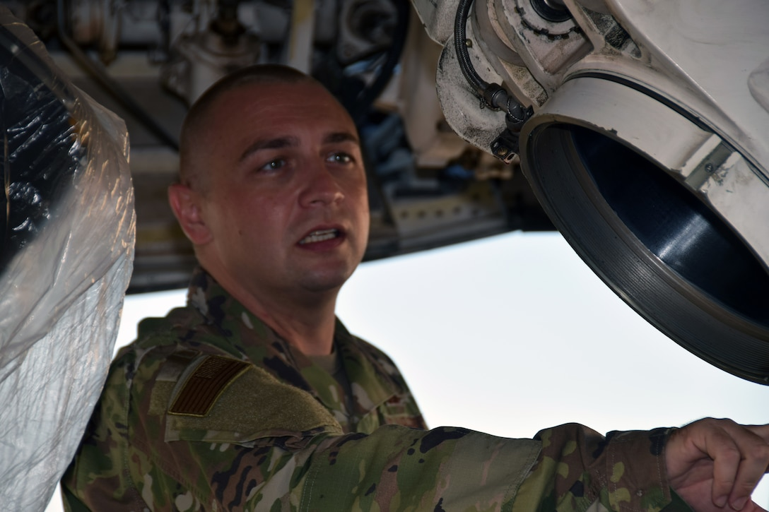 Tech. Sgt. Muris Secerbegovic, 433rd Maintenance Group quality assurance inspector, inspects a C-5M Super Galaxy nose landing gear assembly Aug. 3, 2020, at Joint Base San Antonio-Lackland, Texas.