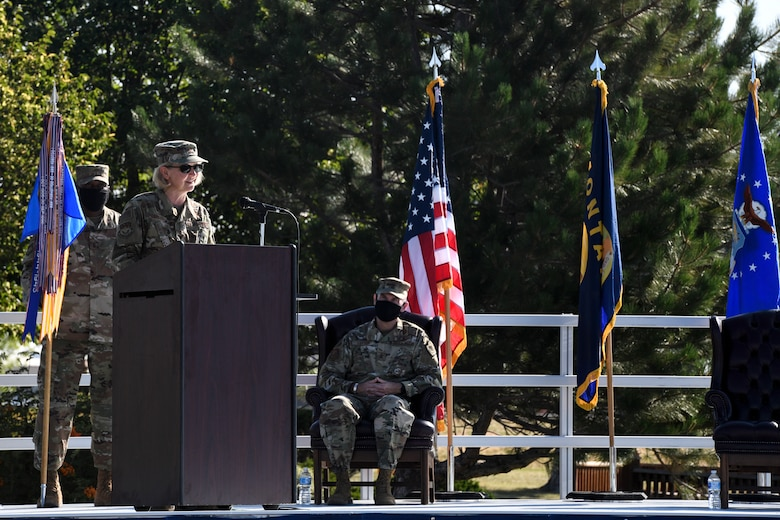 Col. Jennifer Reeves, 341st Missile Wing outgoing commander, makes final remarks Aug. 5, 2020, at Malmstrom Air Force Base, Mont.