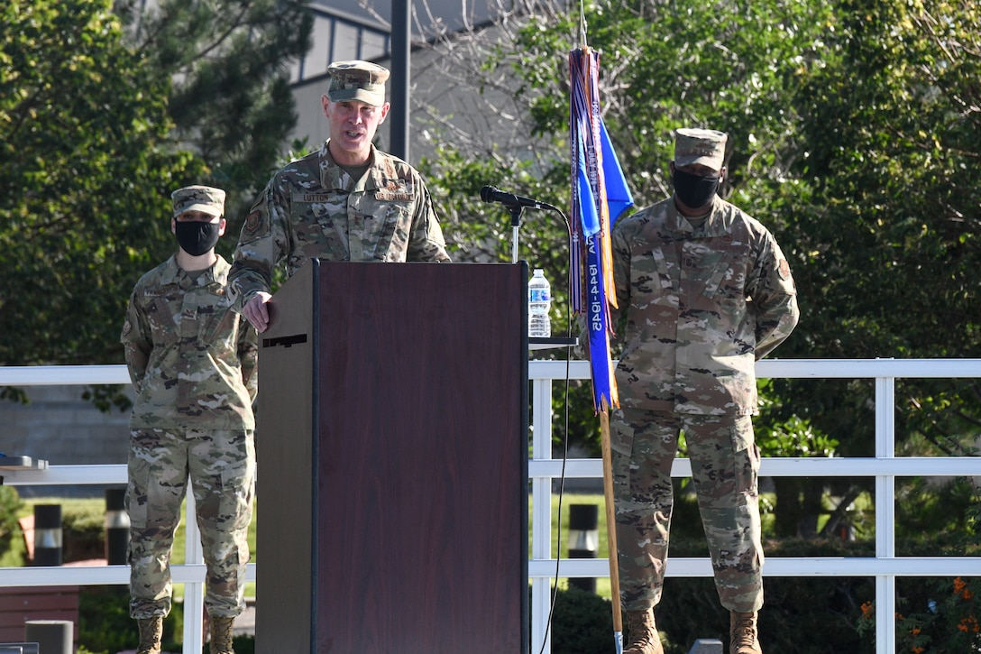 Maj. Gen. Michael Lutton, 20th Air Force commander, makes opening remarks during the 341st Missile Wing change of command ceremony Aug. 5, 2020, at Malmstrom Air Force Base, Mont.