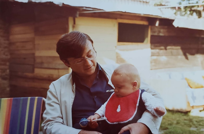 Tech. Sgt. Muris Secerbegovic, 433rd Maintenance Group quality assurance inspector, as a child with his father, Mustaj, in Banja Luka, Bosnia-Herzigovina, May 1983.