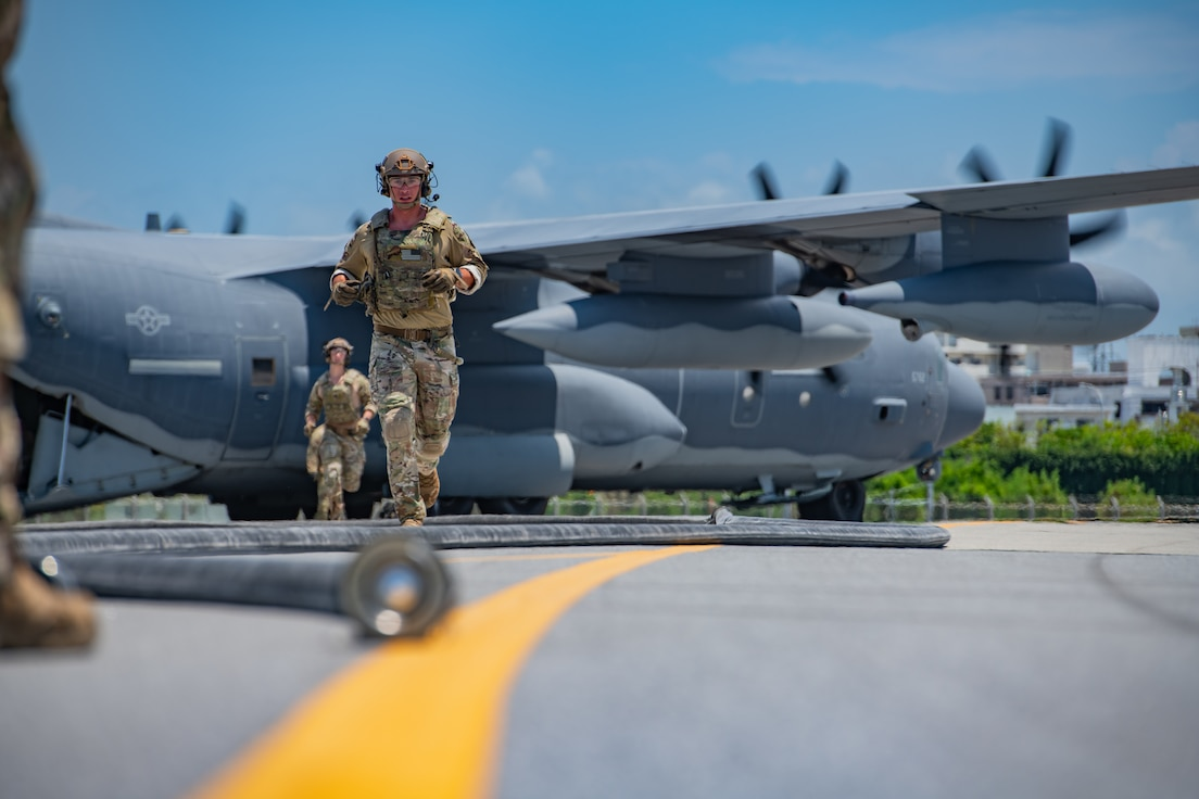 Forward area refueling point Airmen from the 353rd Special Operations Group prepare an MC-130J Commando II for FARP operations during Exercise Westpac Rumrunner, July 31, 2020, at Kadena Air Base, Japan. The FARP mission supports contingency and exercise operations to refuel aircraft and equipment in austere locations where typical air-to-air refueling or established refueling stations are not available.