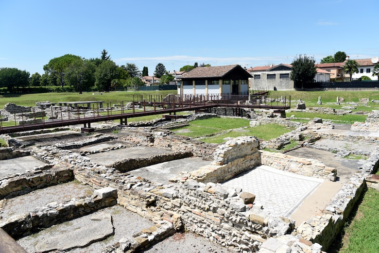 Ancient Roman houses and oratory at Aquileia, Italy, July 15, 2020. Aquileia was founded by the Romans in 181 BC along the Natiso River. (U.S. Air Force photo by Staff Sgt. Heidi Goodsell)