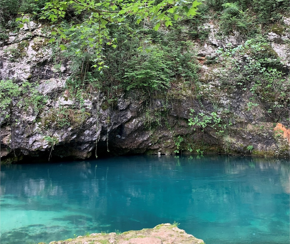 The site of the underwater Jesus cave at Polcenigo, Italy, May 25, 2019. Polcenigo is located on the slopes of the Western Carnic Prealps. (U.S. Air Force photo by Staff Sgt. Heidi Goodsell)