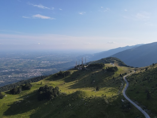 The hillside and valley at Piancavallo, Italy, July 23, 2020. Piancavallo is 4,199 feet above sea level, and at the foot of Monte Cavallo. (U.S. Air Force photo by Senior Airman Kevin Sommer)