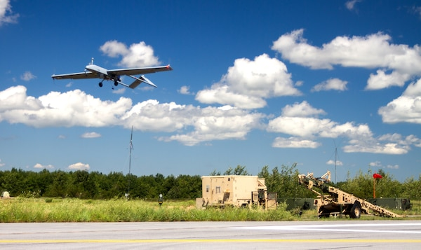 New York Army National Guard  Soldiers assigned to Delta Company, 152nd Brigade Engineer Battalion, 27th Infantry Brigade Combat Team, launch a RQ-7B Shadow Unmanned Aerial Vehicle at Fort Drum, New York, July 28, 2020. Equipped with advanced sensors, the Shadow is used to relay communications, conduct surveillance and target acquisition.