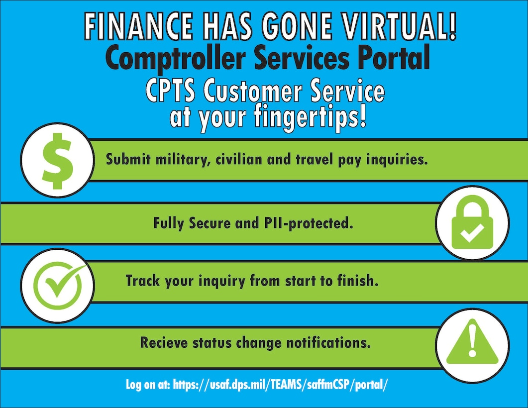 The 48th Comptroller Squadron has introduced a new system for submitting and tracking financial inquiries to help Airmen efficiently manage their finances, maintaining the readiness to accomplish their mission. (U.S. Air Force inforgraphic by Airman 1st Class Jessi Monte)