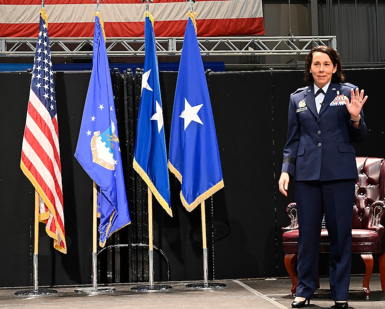 Brig. Gen. Jeannine Ryder expresses her gratitude towards her friends, family and coworkers, Aug. 3, following her promotion to general officer at the National Museum of the United States Air Force, Wright-Patterson Air Force Base, Ohio. (photo by Darrius Parker)