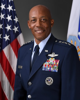 This is the official portrait of Air Force Chief of Staff Gen. CQ Brown Jr.
