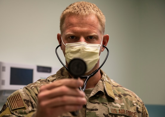 Medical Airman holds stethoscope