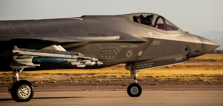 An F-35A Lightning II taxis down the flightline in a Beast Mode weapons configuration July 22, 2020, at Luke Air Force Base, Ariz.