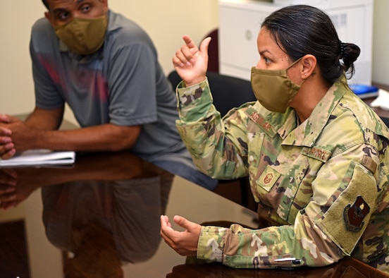 U.S. Air Force Master Sgt. Elizabeth Aguilar, 17th Training Wing Equal Opportunity superintendent, discusses the barriers that minorities face and how they can remove them on Goodfellow Air Force Base, Texas, August 5, 2020. The team leaders planned to have their first meeting with the unit representatives to discuss what issues each squadron was facing. (U.S. Air Force photo by Airman 1st Class Ethan Sherwood)