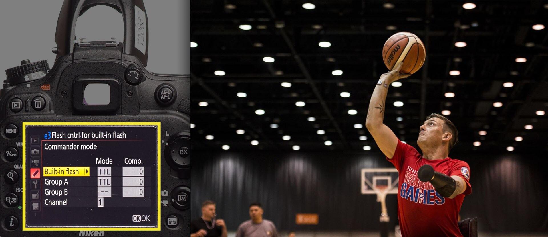 Basketball player with prosthetic arm shoots basketball