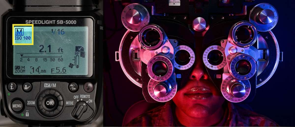 side-by-side image showing manual flash selection and a person having an eye exam.