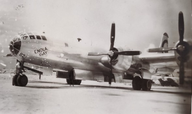 The B-29 Superfortress Enola Gay parked on Tinian. (U.S. Air Force courtesy photo)
