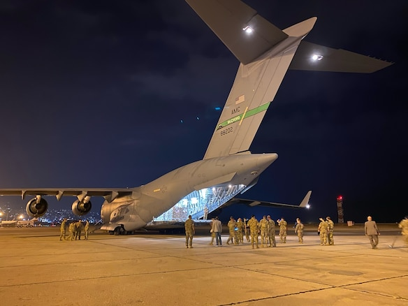 U.S. Air Force Airmen unload humanitarian aid supplies from a U.S. Air Force C-17 Globemaster III at Beirut, Lebanon on Aug. 6, 2020. U.S. Central Command is coordinating with the Lebanese Armed Forces and U.S. Embassy-Beirut to transport critical supplies as quickly as possible to support the needs of the Lebanese people.