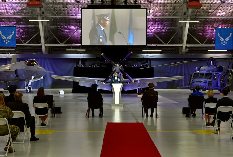 Incoming Air Force Chief of Staff Gen. Charles Q. Brown Jr. speaks during the CSAF Transfer of Responsibility ceremony at Joint Base Andrews, Md., Aug. 6, 2020. Brown is the 22nd Chief of Staff of the Air Force. (U.S. Air Force photo by Wayne Clark)