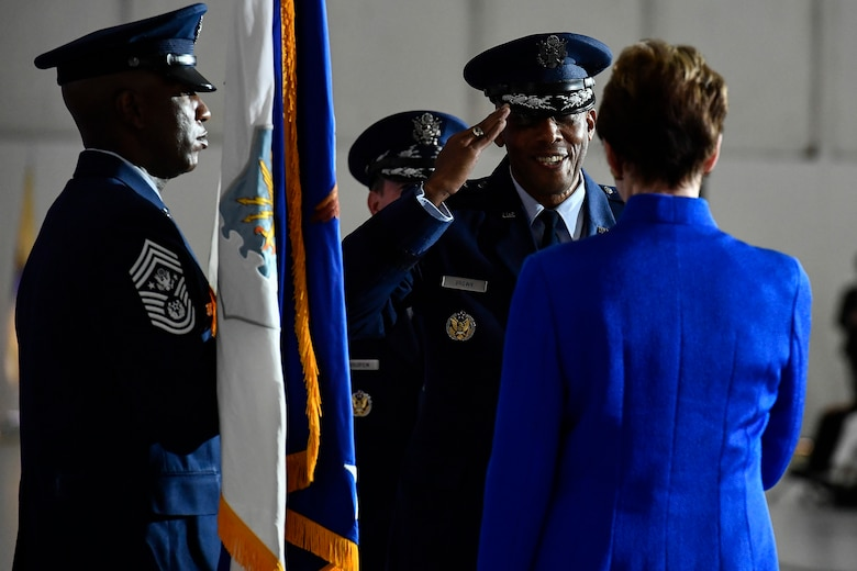 Air Force Chief of Staff Gen. Charles Q. Brown Jr. salutes Secretary of the Air Force Barbara M. Barrett during a transition ceremony at Joint Base Andrews, Md., Aug. 6, 2020. Brown replaced Gen. David L. Goldfein as the 22nd chief of staff. (U.S. Air Force photo by Eric Dietrich)
