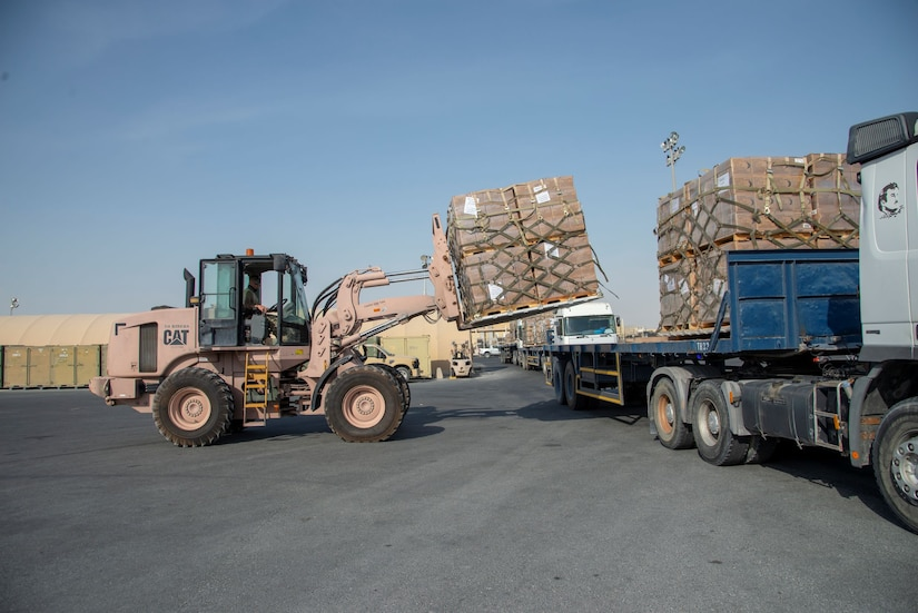 U.S. aid including food, water, and medical supplies in route to supply relief to those affected in Lebanon.