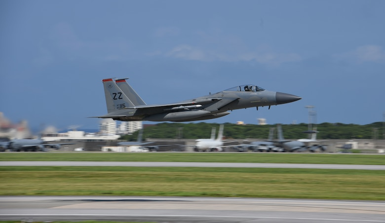 An F-15C Eagle assigned to the 67th Fighter Squadron takes off during Exercise WestPac Rumrunner, July 31, 2020, at Kadena Air Base, Japan. Team Kadena executed the second iteration of Rumrunner which is an 18th Wing-led exercise dedicated to implementing agile combat employment concepts to ensure readiness to protect and defend partners, allies and U.S. interests in the Indo-Pacific region.
