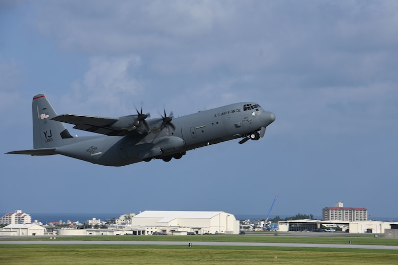 A C-130J Super Hercules assigned to Yokota Air Base, Japan, takes off during Exercise Westpac Rumrunner, July 31, 2020, at Kadena Air Base, Japan. Team Kadena executed the second iteration of Rumrunner which is an 18th Wing-led exercise dedicated to implementing agile combat employment concepts to ensure readiness to protect and defend partners, allies and U.S. interests in the Indo-Pacific region.