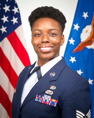 Staff Sgt. Alexis Wilson, 434th Air Refueling Wing development and training flight NCOIC, poses for an official photo at Grissom Air Reserve Base, Ind, July 12, 2020. Wilson was recently selected for the position responsible for preparing Grissom's newest Airmen for basic military training and the military culture. (U.S. Air Force photo/Master Sgt. Ben Mota)